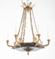 Empire Style Gilt and Patinated Bronze Chandelier