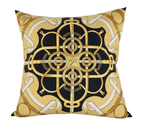 """Eperon d'Or"" Vintage Hermes Silk Pillow by Henri d'Origny"