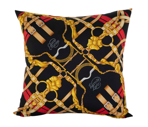 """Grand Manege"" Vintage Hermes Silk Pillow by Henri d'Origny"