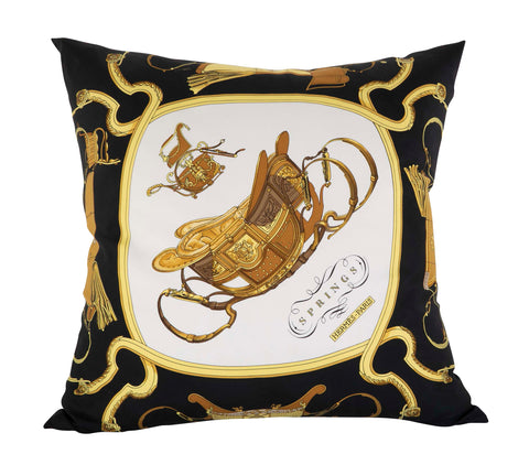 """Springs"" Vintage Hermes Silk Pillow by Philippe Ledoux"