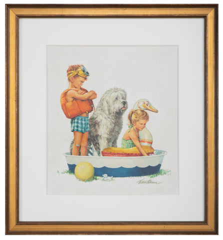 Watercolor of Two Children and a Dog in a Boat by Victor Olson, Reading, CT Artist