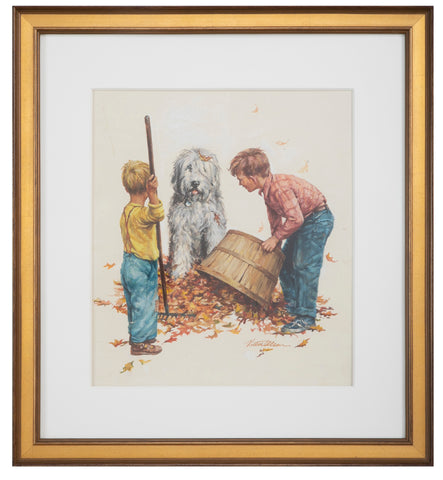 Watercolor of Two Children Raking Leaves with a Dog by Victor Olson, Reading, CT Artist
