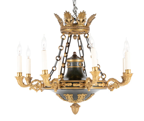 J. E. Caldwell Eight Light Gilt and Patinated Bronze Chandelier