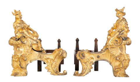 Marvelous Pair of Louis XV Dore Bronze Chenets