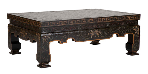 Chinoiserie Black Lacquer and Gilt Coffee Table