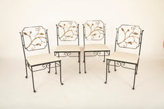 Set of Four Vintage Cast Iron & Bronze Dining Chairs