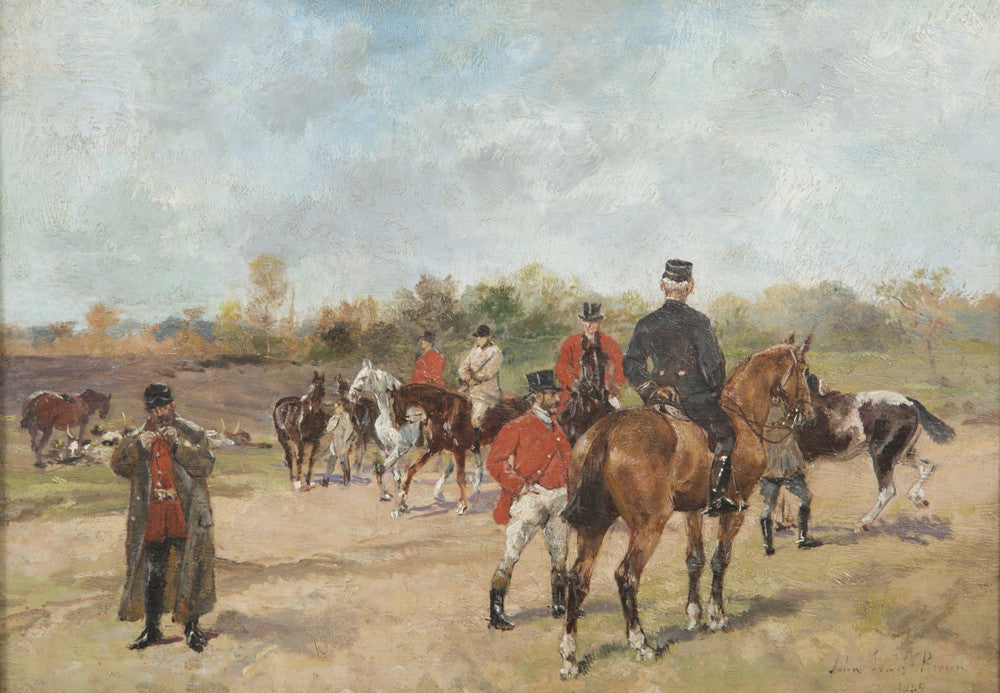 """The Meet"" Oil on Canvas Signed John Lewis Brown, 1885"