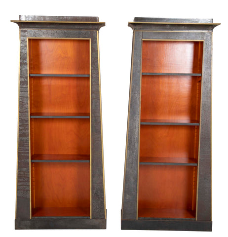 Pair of Neoclassical Iron Clad Bookshelves