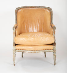 Louis XVI Style Gray Painted Armchair Upholstered in Leather,  Sold Individually