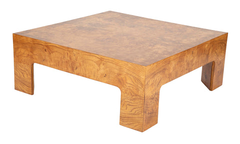 A Burled Elm Parsons Style Coffee Table