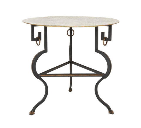 Modern Iron Brass Top Side Table