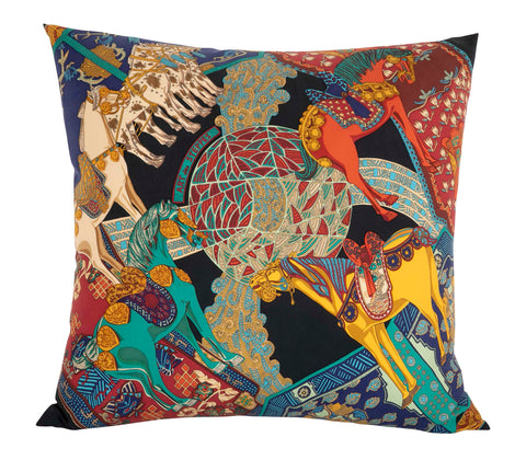 """L'Art des Steppes"" Vintage Hermes Silk Pillow by Annie Faivre"