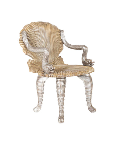 Midcentury Painted and Silver Gilt Italian Grotto Chair