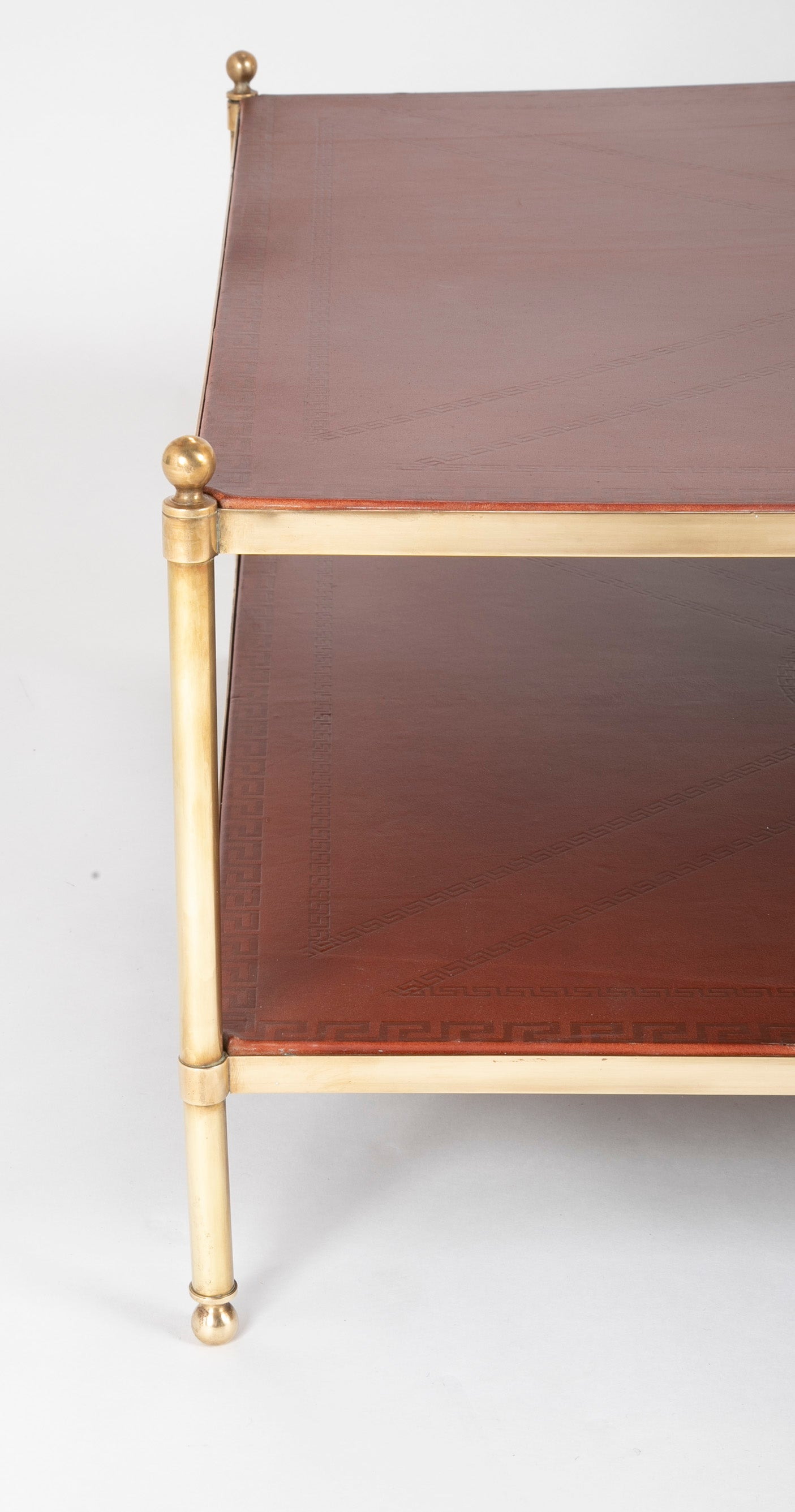 Mid-Century Two Tier Brass Table with Embossed Leather Top & Shelf