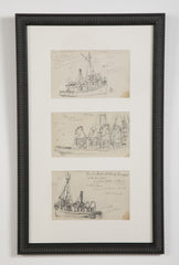 Two Groups of Reynolds Beal Pencil Sketches of Sail Boats and Fishing Boats
