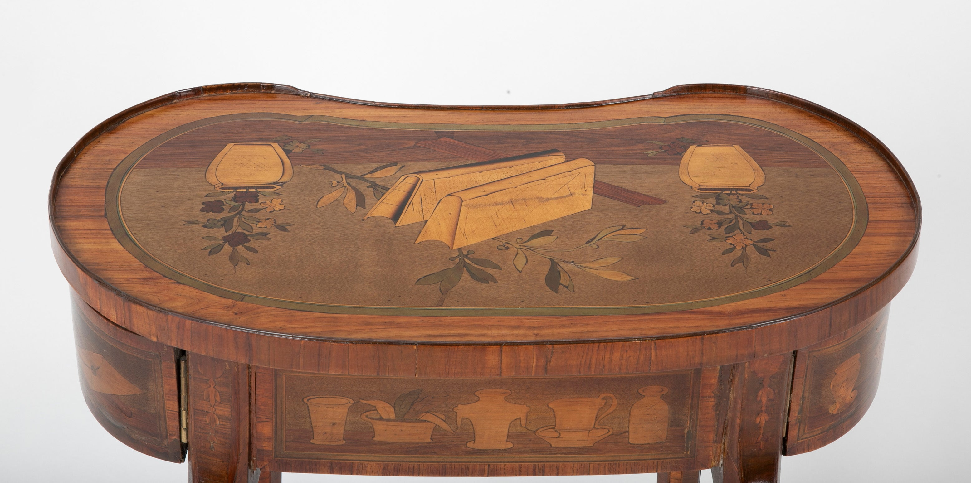 Unusual Louis XV Kidney Form Marquetry Table after Charles Topino