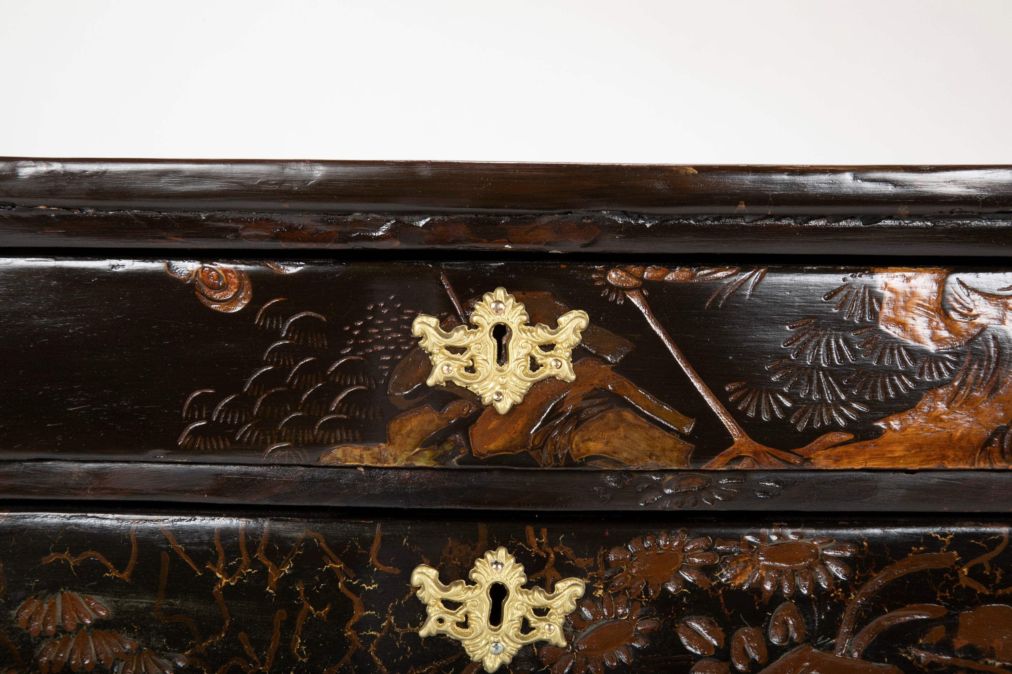 Pair of Louis XV Three Drawer Chinoiserie Petit Tables