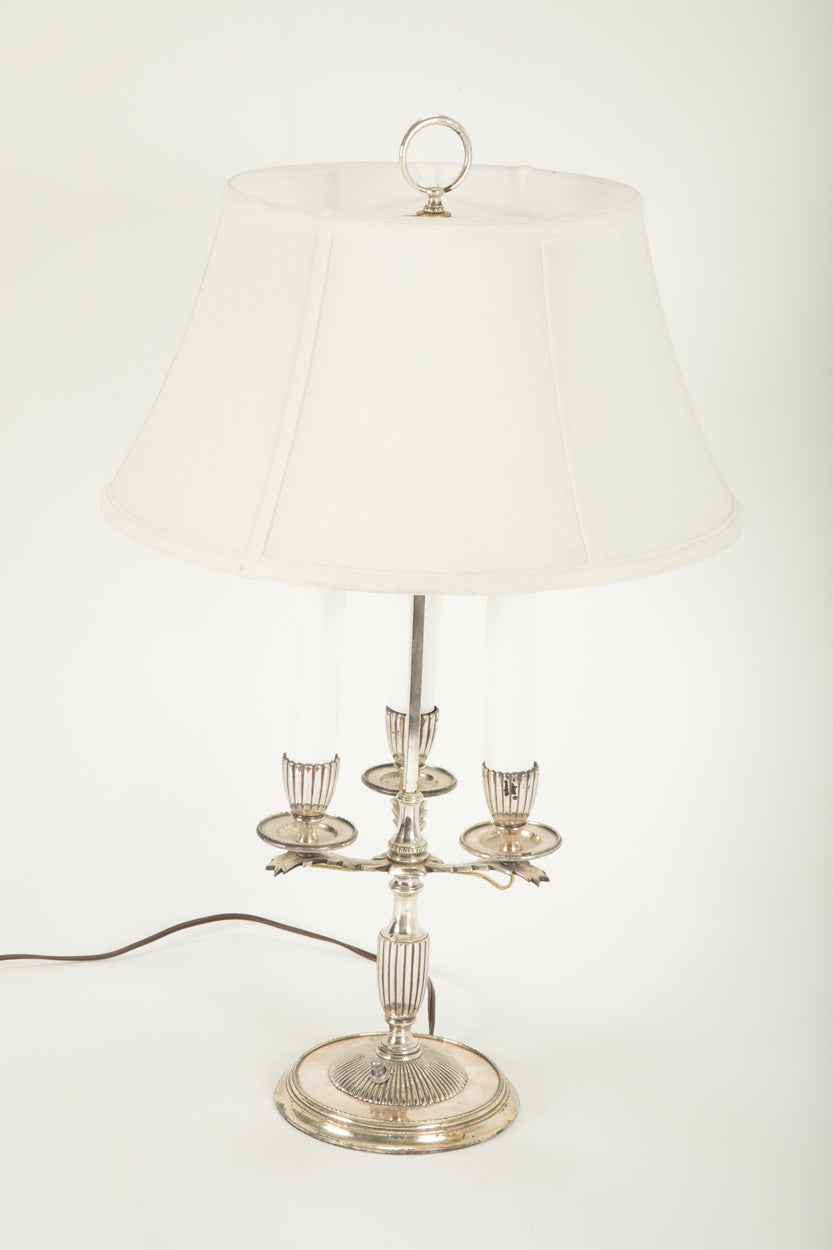 A Three Arm Silverplate Bouillotte Lamp