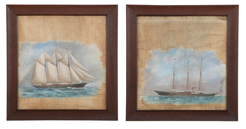 Unusual Pair of Late 19th Century Ships Portraits on Cloth