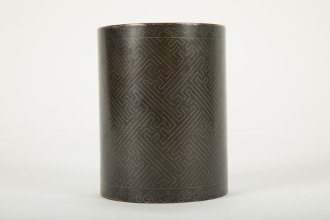 Chinese Bronze Brush Pot With Silver Wire Inlay