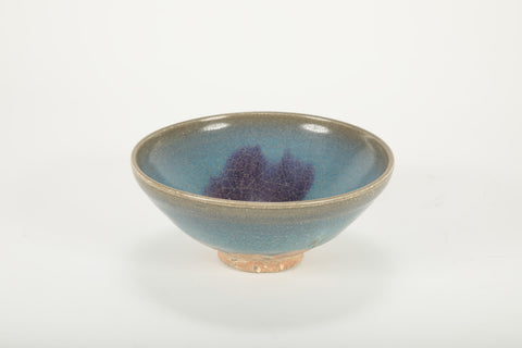 Chinese Junyao Pottery Bowl with Lavender Splash on Turquoise Ground