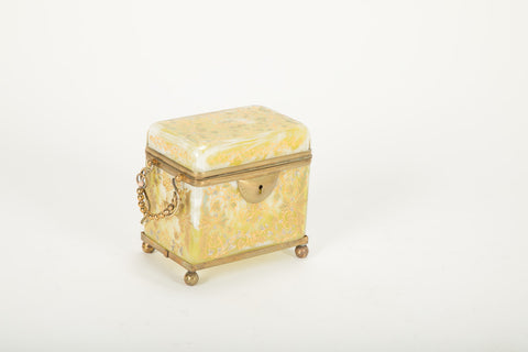 19th Century Moser Lemon Swirl Glass Casket Box