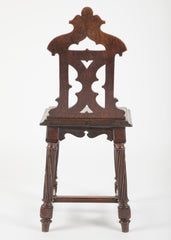 Pair of Gothic Revival Oak Hall Chairs