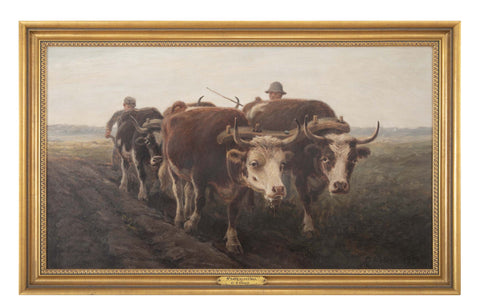 Oil on Canvas by George Arthur Hays of Oxen Plowing a Field