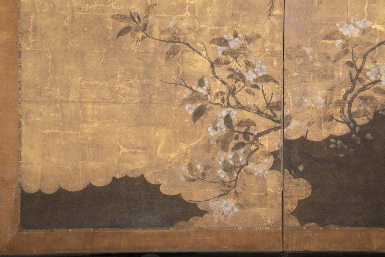 Two Panel Ink and Gold Leaf Japanese Screen