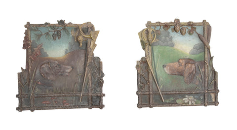 Pair of 19th Century English Hunting Dog Plaster & Paint Plaques