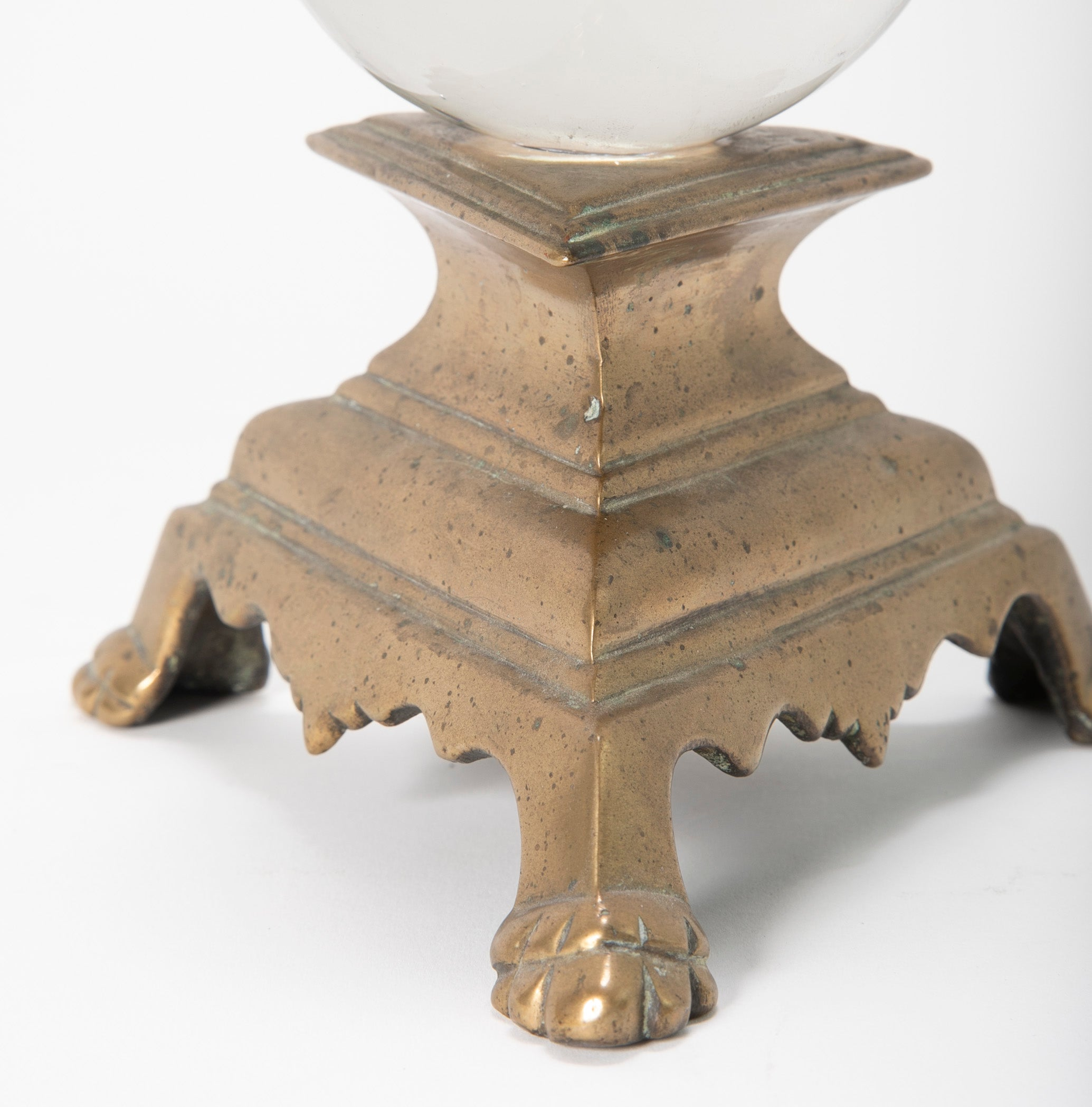 Crystal Ball on 18th Century Italian Bronze Candlestick Base