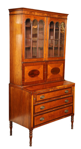 Early 19th Century American Sheraton Two Part Secretary of Mahogany and Tiger Maple