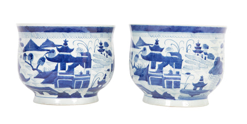 Pair of Chinese Canton Blue & White Cachepots