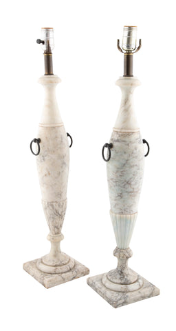 Classical Pair of Alabaster Urn Form Lamps