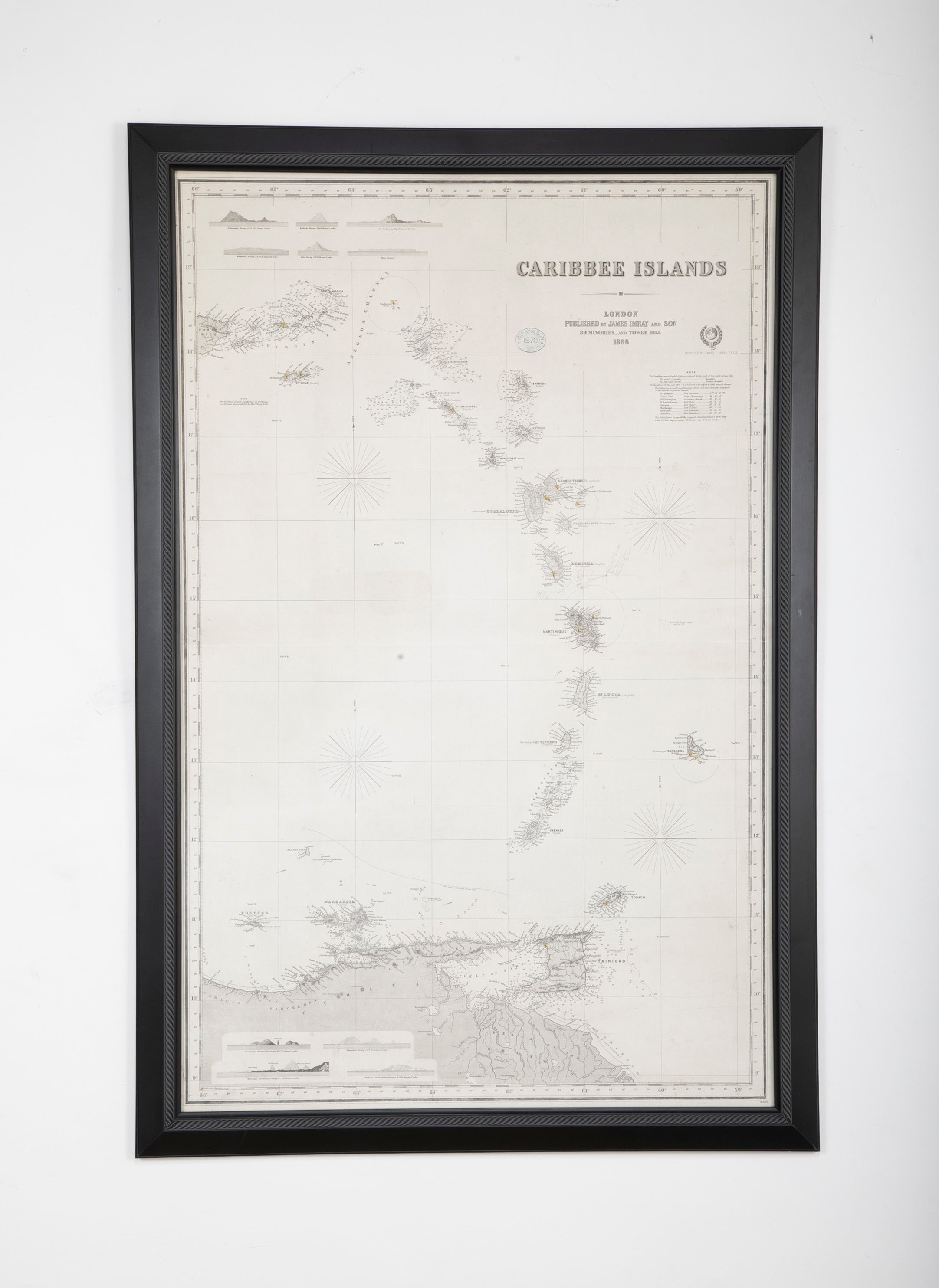 Rare Chart of the Caribbean Islands Published by James Imray & Son, London, 1866