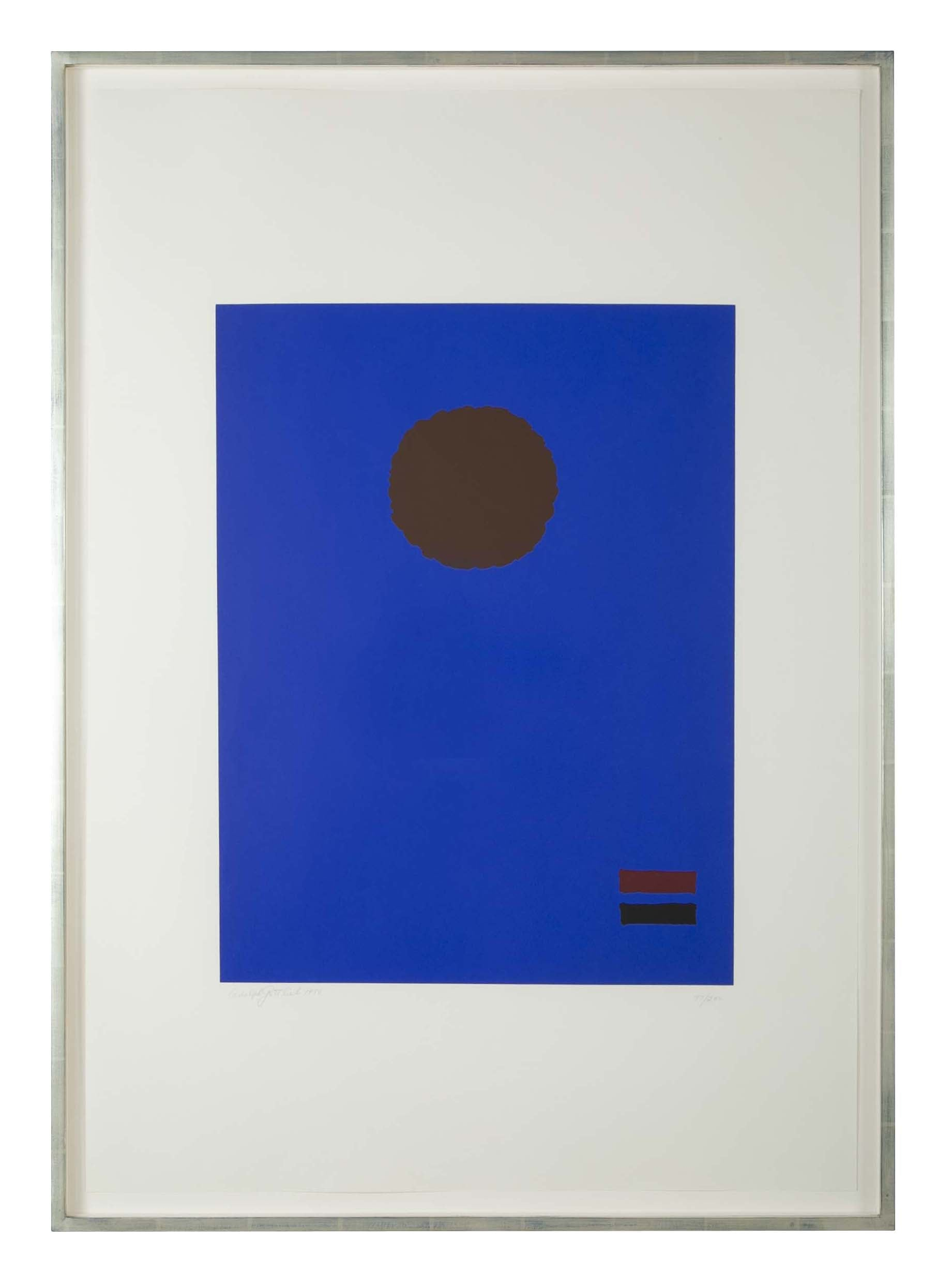 """Blue Night"" a Silkscreen by Adolph Gottlieb"
