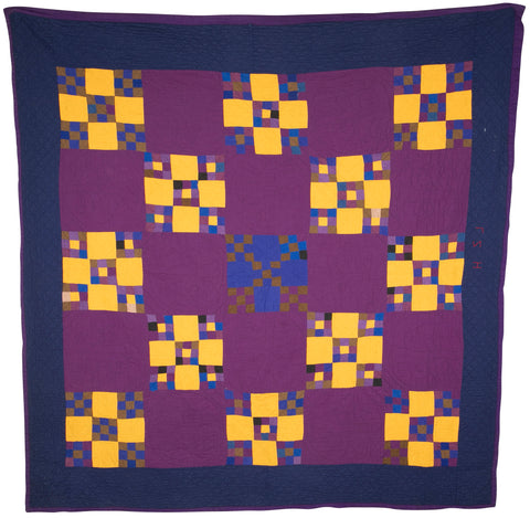 "Amish ""Nine Patch"" Variation Pattern Quilt"