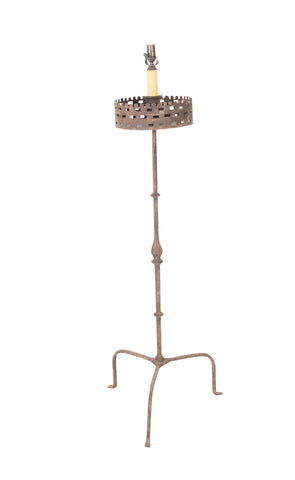 Handwrought Iron Pricket Stick now a Lamp with Crenulated Bobeche