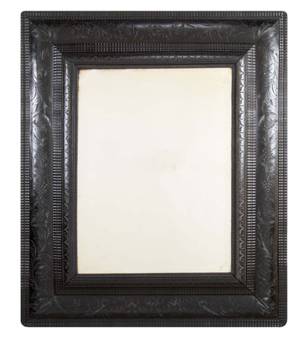 Late 19th Century Ebonized & Carved Wood Framed Mirror