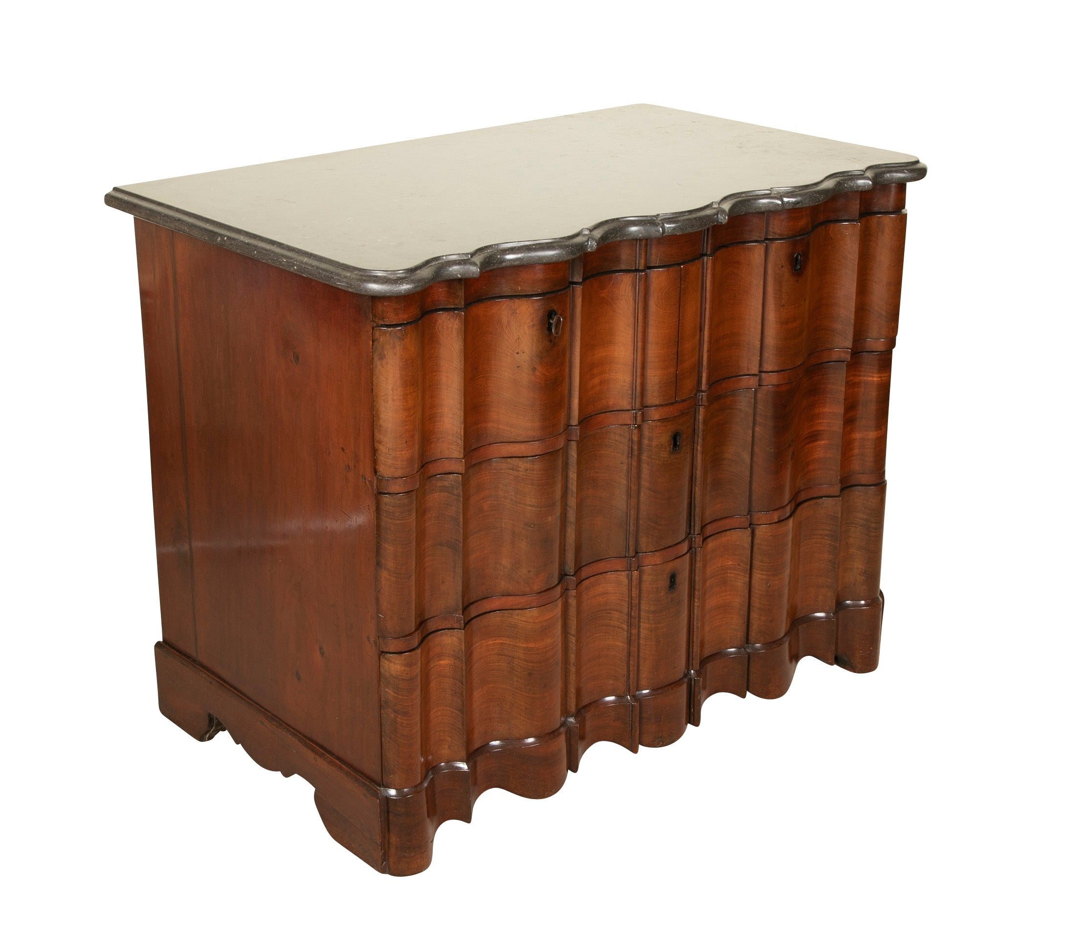 A Handsome Baroque Four Drawer Walnut Chest with Original Shaped Marble Top