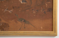 A 19th Century Framed Chinese Scroll Depicting the Scene of a Hundred Birds
