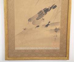 Pair of Japanese Framed Scrolls with Lotus, White Heron & Duck Decoration