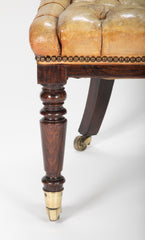 19th Century English Tufted Leather Slipper Chair