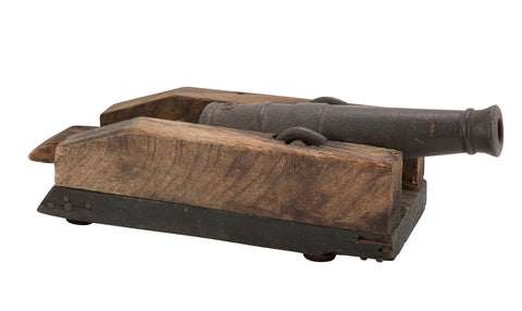 Early 19th Century Cast Iron Signal Cannon on Wood Base