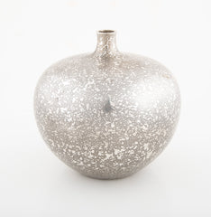 Bulbous Silvered Bronze Japanese Vase