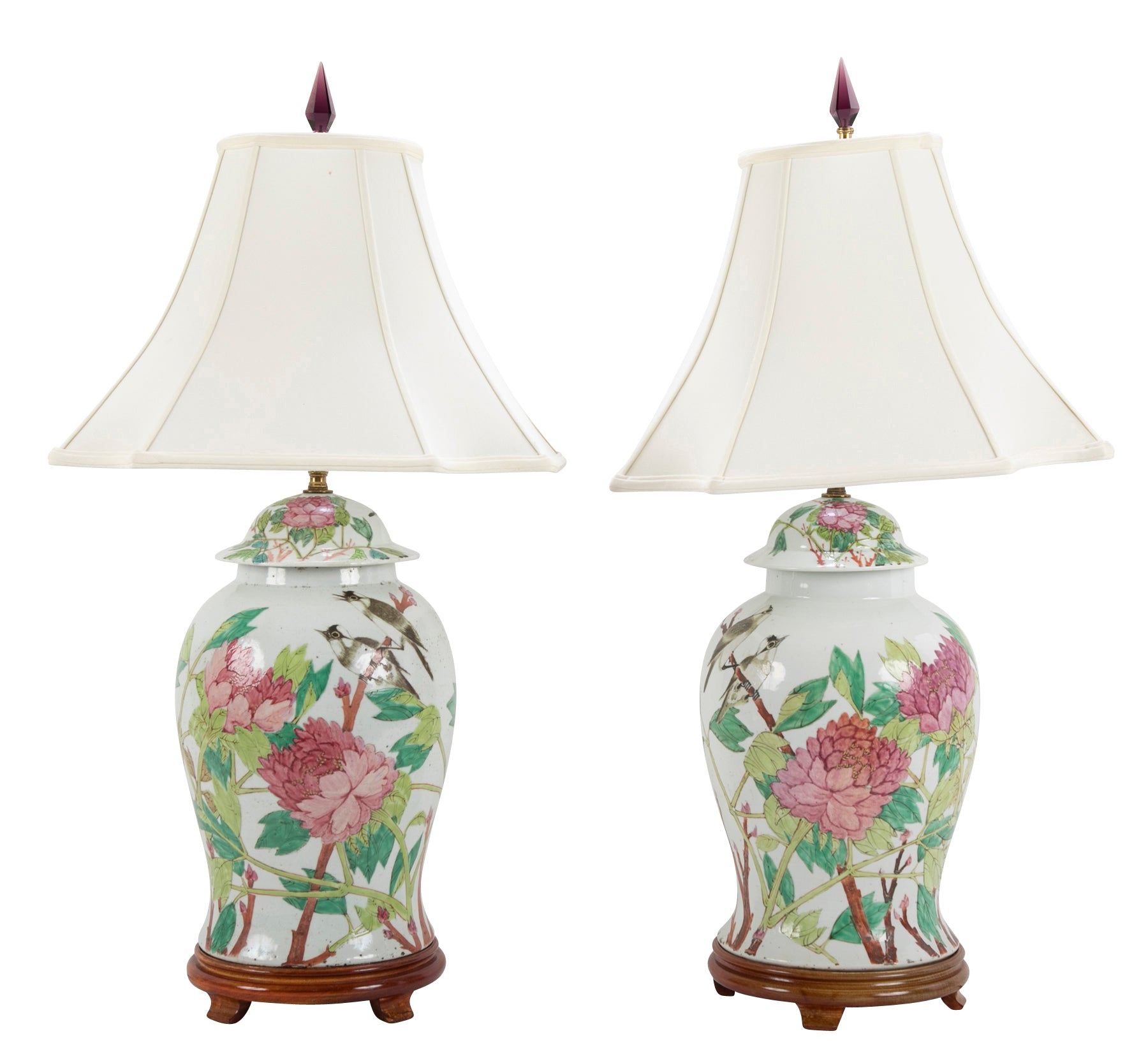Pair of Chinese Covered Jars with Birds, Peonies & a Poem now Lamps