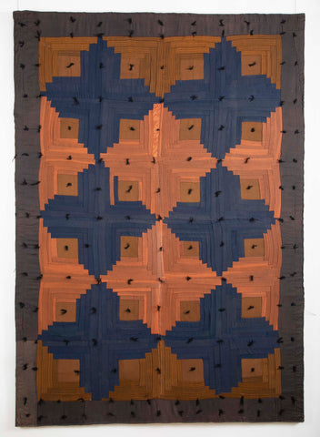 19th Century Amish Log Cabin Quilt now Mounted on Board