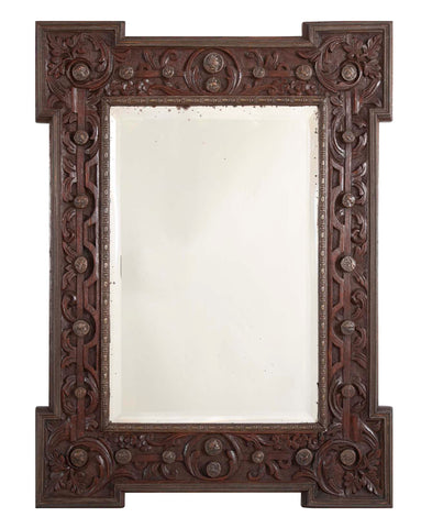 Carved Oak and Patinated Bronze Arts & Crafts Style Mirror