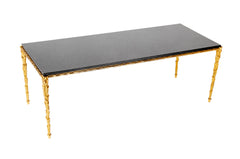 Maison Charles Bronze and Marble Top Coffee table