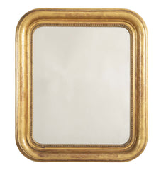 19th Century Gilt Framed Mirror with Rounded Corners & Incised Decoration